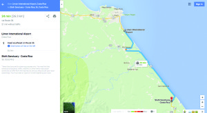 MAP Limon to Sloth Sanctuary_030416