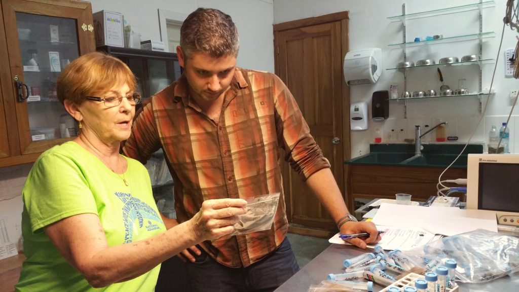 Ryan Haupt and Judy Avey-Arroyo look at hair samples related to Ryan's research