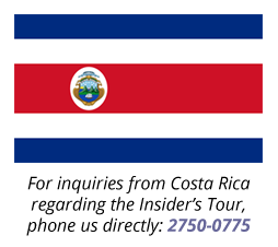 For inquiries from Costa Rica regarding tours, please phone us directly at 2750-0775